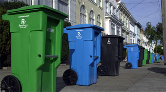 zero waste photo - green, blue, black bins