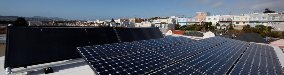 Image of solar panels with city views