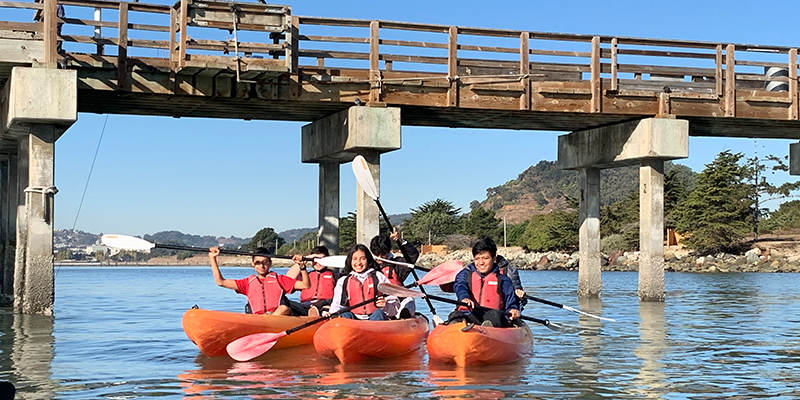 Students kayaking at Candlestick Point Park