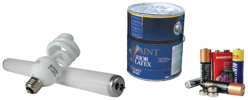 Light bulbs, paint, batteries