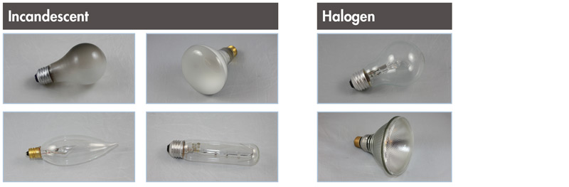 Incandescent and Halogen light bulbs