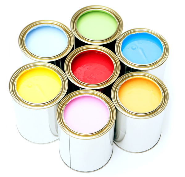 photo of cans of latex paint