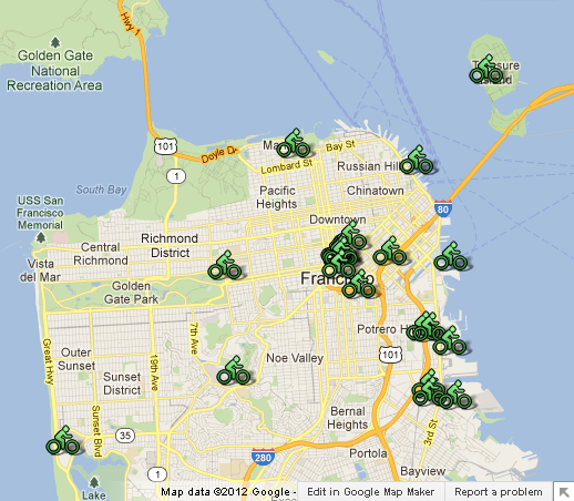 CityCycle Map of Locations