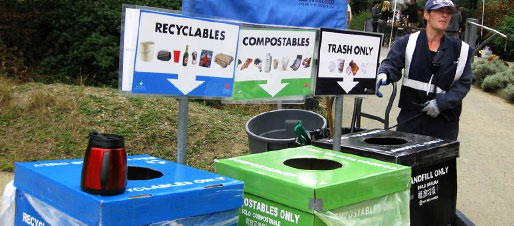 Recycling, Composting, and Landfill Bins at Events
