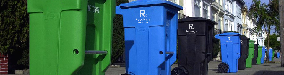 Recycling, composting, and landfill bins
