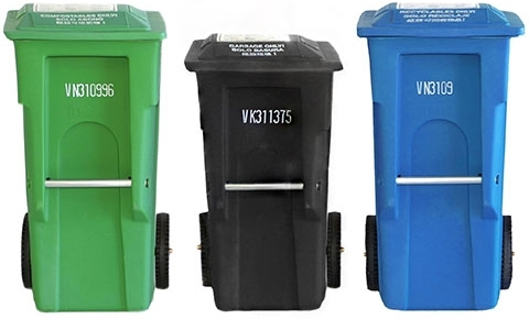 Recycle, compost, landfill bins