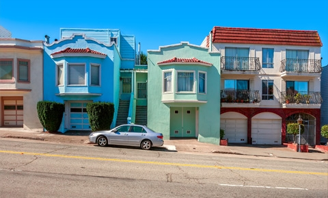photo of residential homes in SF 's Sunset neighborhood