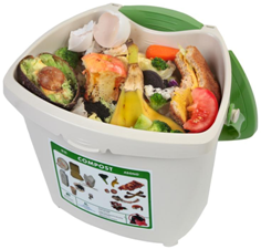 kitchen compost pail with food scraps