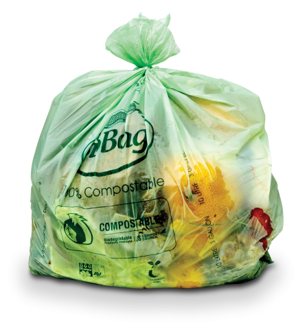 Compostable bag filled with compostables (food scraps, etc.)