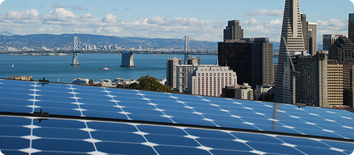 Solar panel with SF Bay Bridge in Background