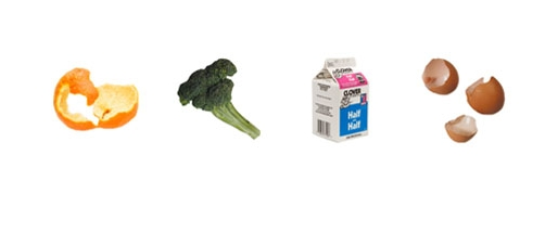 still images of orange peel, broccoli, milk carton, and egg shells