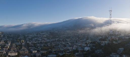Fog over San Francisco Twin Peaks